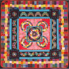 """La Serenata, 76 x 76"""", by Ann Horton. 2nd Place: Innovative, Large, Mixed, 2013 Road to California.  Made with Guatemalan striped fabrics. quilt quilt, ahhhhmaz quilt, beauti quilt, quilt ruth, fabul quilt"""