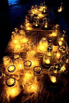masons, outdoor parties, mason jar candles, candle centerpieces, mason jars, jar lights, country, backyards, tea lights