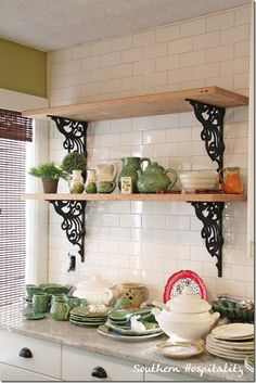 DIY~ Rustic shelves in kitchen