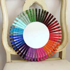 This would be a neat way to make a color wheel make a color wheel, diy clothespins, classroom mirrors, color wheels, clothespins diy, clothespin mirror, paint, craft rooms, clothespin craft