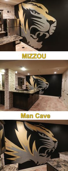 Our newest project, just completed!  In one of the most beautiful man caves I've seen in a while.  Awesome design idea from the client, awesome execution from Style Points!!!  Missouri Tigers Man Cave.  Mizzou!!!