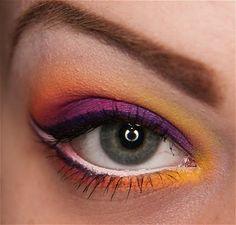 Tutorial: Bright Tropic Acid makeup tutorialsinspir, eye makeup, purple, mascaras, color, sleek makeup, yellow, black, eyes