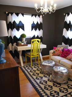 Chevron curtains and cute layout with rug