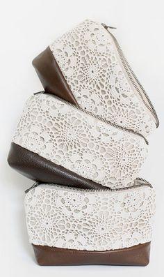 Leather bag make up bag travel case stripe tribal