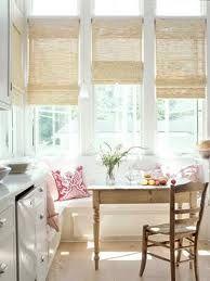 breakfast nooks, kitchen nook, kitchen windows, window treatments, roman shades, banquett, light, window coverings, window seats