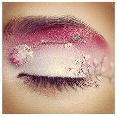 pink flowers, eye makeup, fairy makeup, roses, dried flowers, beauti, eyeshadows, eye art, cherry blossoms