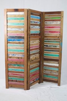 reclaimed wood room divider.