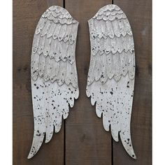 Creative Co-op Distressed Wood Small Angel Wing Set from Elizabeth's Embellishments