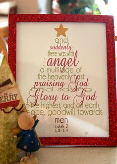 Free Printable of this beautiful Verse.  Print it then you can find the frame at the dollar store and spray painted them red, and glittered some of them. And look how cute they turned out. Quick, easy, and a great message all in one.