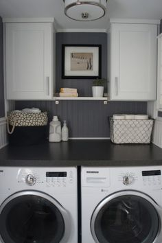 decor, idea, laundry closet, laundry area, laundry rooms, hous, small space, laundri room, white cabinets