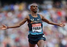 Great Britain's Mo Farah celebrates winning the men's 3000 metres. Picture: John Walton/PA Wire