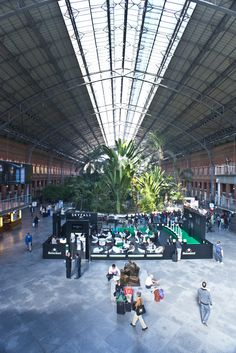 The interior of the Madrid Atocha train station