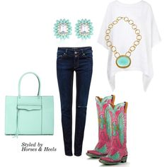 """Pink & Aqua"" by horsesandheels on Polyvore"