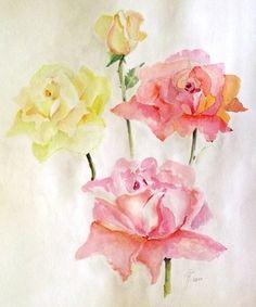 "Saatchi Online Artist Hedwig Pen; Painting, ""4 Roses"" #art"