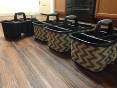 Sassy table baskets for the classroom. Used burlap ribbon and adhesive spray - quick and easy!!!