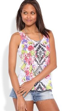 Deb Shops #Floral Aztec Tank Top with Slash Back $15.75