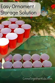 #Christmas Ornament Storage Idea ~ using plastic Cups and cardboard