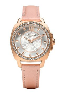 COACH 'Boyfriend' Crystal Bezel Leather Strap Watch, 35mm available at #Nordstrom