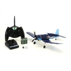 "Airplanes » ParkZone » Ultra Micro F4U Corsair RTF -     1- Comes with two decal sets from which to choose - WWII's more famous Corsair pilots – Ira ""Ike"" Kepford of the famed ""Jolly Rogers"" and Greg ""Pappy"" Boyington from the ""Black Sheep Squadron""  2- Great scale details including a 3-bladed prop, molded panel lines, clear canopy and tri-color trim option of two decal sets  3- Full 4-channel control - flies just like its larger parkflyer brother     Price: $139.99"