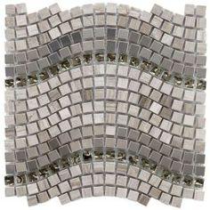 Merola Tile Tessera Wave 12-1/4 in. x 11-3/4 in. Gray Mesh-Mounted Mosaic Tile