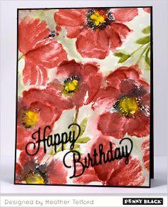 birthday card, card idea, patterns, pattern stamp, poppies, pattern heather, poppi pattern, penni black, heather telford