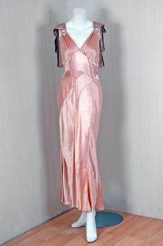 1930's Champange Pink Bias-Cut Satin & Fur Gown with Bolero, front view