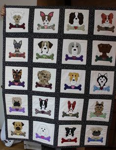 Dog applique quilt.    Dog quilt.