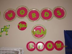 Use paper party plates to make words/titles on bulletin boards POP!