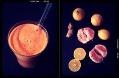 1 peeled grapefruit  3 peeled oranges  1 peeled lemon  1 inch knob or ginger