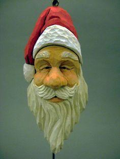 Hand Carved Wood Santa Ornament. $38.00, via Etsy.