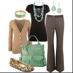 Look ready for the first day at a new job with this outfit! work clothes, color combos, office work, mint, work outfits, teacher, shoe, business casual, leopard