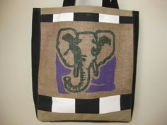 Coffee Sack with ELEPHANT upcycled into large by SublimeSurprises, $58.00