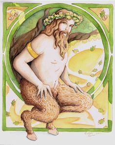 Satyr watercolor by bermusedart.