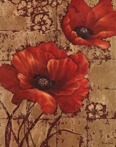 "Vivian Flasch - ""Poppies on Gold I"""