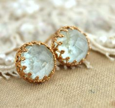 Aquamarine gemstone stud earrings  14k Gold filled by iloniti, $67.00