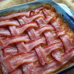 bacon mat over baked beans