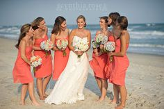 Coral bridesmaids dresses, hydrangea bouquets by Roger Carter, Atlantic Beach NC wedding by Cynthia Rose Photography