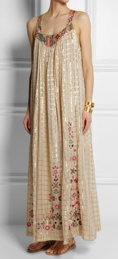 Embroidered voile maxi dress