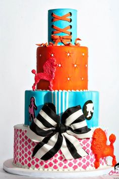 Colorful French Poodle Themed Cake