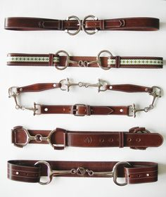 """From show ring to street fashion, the LILO sample leather belt board has horse shoes to bits in all sizes that come in 1"""" to 3"""" widths."""