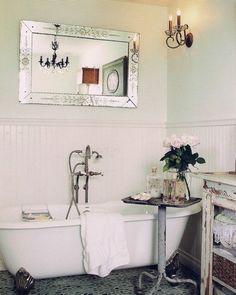 Vintage bathroom ... Cart ... Mirror above tub