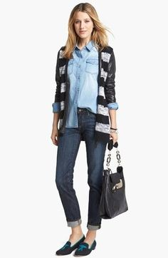 Fall uniform: Chambray, stripes, & cigarette leg jeans.