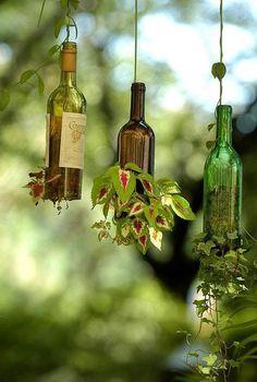 Glass bottled planters