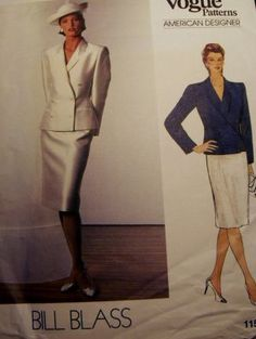 Vintage Vogue 1158 Pattern Designer Bill Blass, Jacket, Skirt, Suit, Size 12, Bust 34, UNCUT