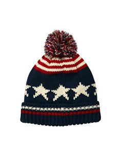 ASOS Bobble Beanie Hat with Stars and Stripes
