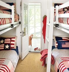 A red-white-and-blue theme is perfect for a summer home's bunkroom. With just patriotic bed linens and small area rug, this kids room is playful and filled with color. myhomeideas.com