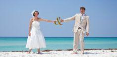 beach weddings, retro beach wedding
