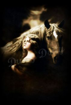 vintage gypsy girl with horse