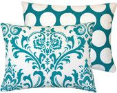 """Decorative Cushion Pillow 18""""x18"""" Blue and White, Damask with Polka Dots, Turquoise Mist Collection. $24.00, via Etsy."""