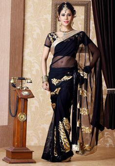 Black Faux Chiffon #Saree with Blouse @ $73.86